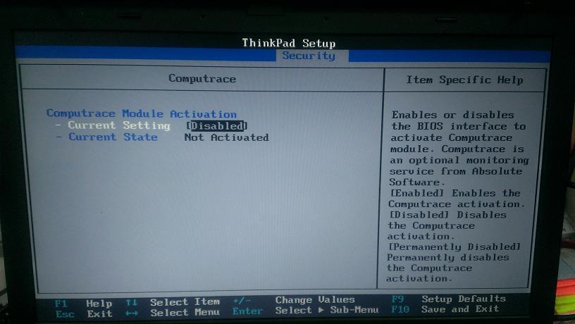 ibm lenovo computraceを解除します